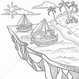 Island Floating Coloring Vector Designlooter Graphic 03kb 1300px 1300 sketch template