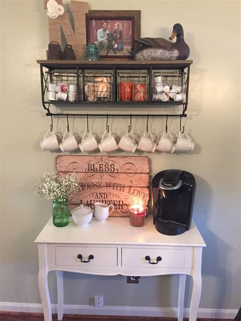 My coffee bar in my kitchen is def the highlight of my morning! New shelf for my coffee station. #coffee #station | Kitchen decor, Kitchen inspirations, Home decor
