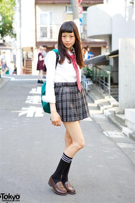 cute japanese school uniform  plaid skirt red tie loafers