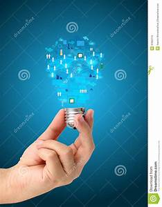 Creative Light Bulb In Hand With Technology Business