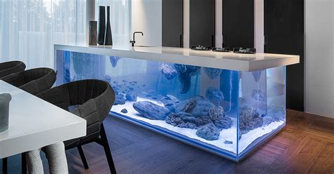 10 X 10 Kitchen Ideas - this kitchen island is also a giant aquarium bored panda