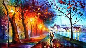 Art Leonid Afremov City Couple Couple Umbrella Umbrella