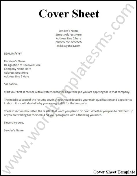 How To Format Cover Letter For Resume by Cover Page Resume