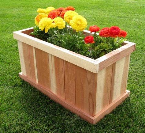 garden decor wonderful rectangular wooden outdoor planter