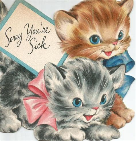 vintage  youre sick   cute kitten cat card