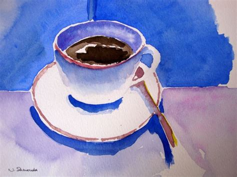 Coffee cup painted with watercolors on white background. Coffee cup original watercolor painting by NaderShenoudaArt