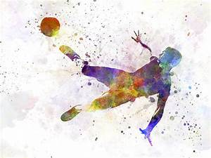 Man Soccer Football Player Flying Kicking Painting by
