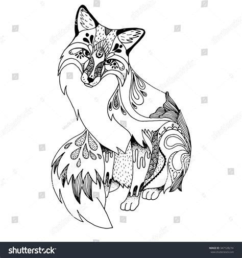 Abstract Black And White Animal Drawings by Abstract Fox Ornate Isolated Vector Illustration Stock