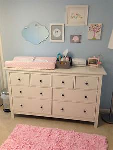 Light Blue Pink Nursery With Ikea Dresser As Changing