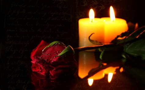 Candle And Roses Hd Wallpaper  Others Wallpapers