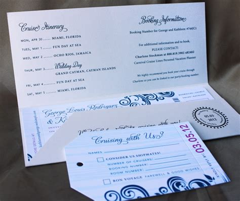 Blue Swirl With Fuchsia Accents Cruise Boarding Pass Wedding Invitations - EmDOTzee Designs