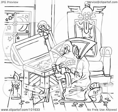 Evil Outline Wizard Treasure Chest Coloring Clipart
