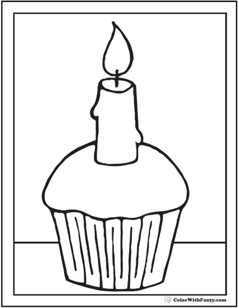 Cupcake With Candle Coloring Page Pictures To Pin On