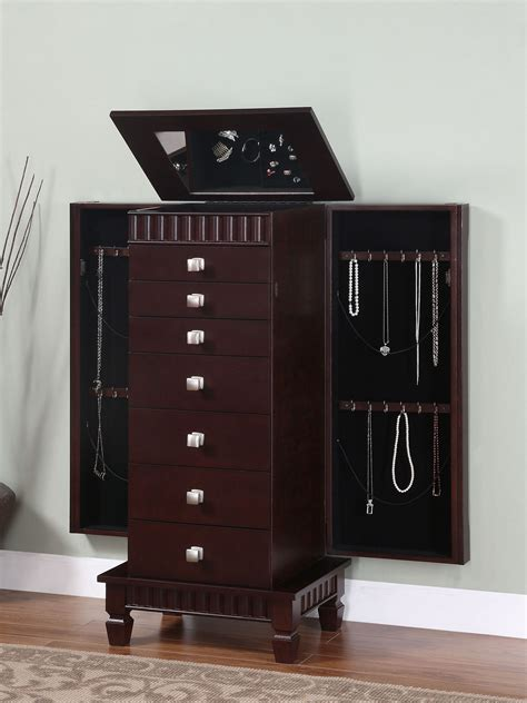 powell contemporary merlot jewelry armoire by oj commerce