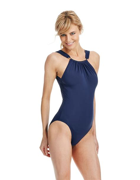 vince camuto mist high neck one swimsuit in blue lyst