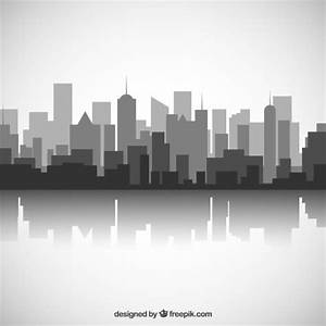 Black and white city skyline Vector   Free Download