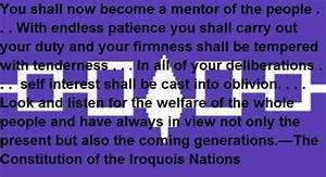 Invisible Gover... Iroquois Constitution Quotes