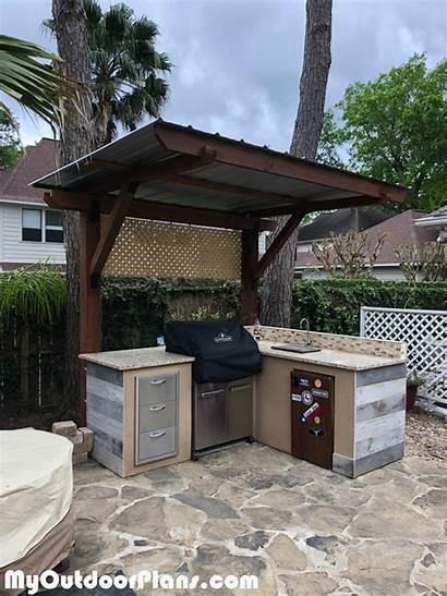Pergola Kitchen Myoutdoorplans Shed Grill Patio Station