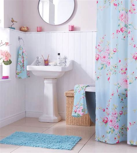 looks floral shower curtain pink and baby blue