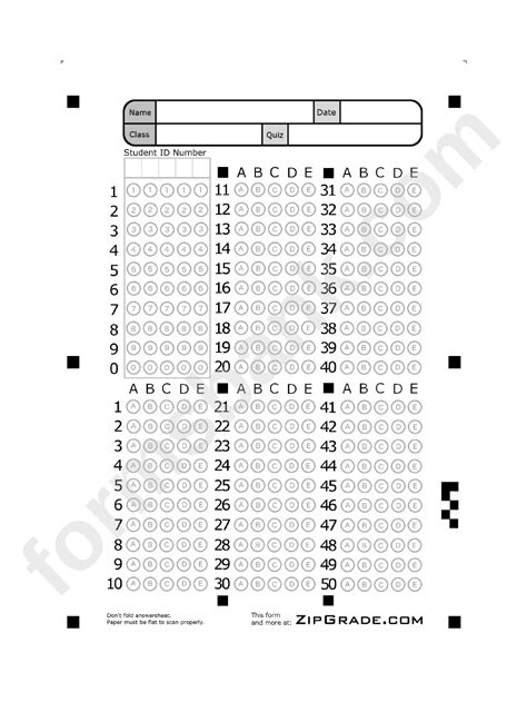 answer sheet template   printable