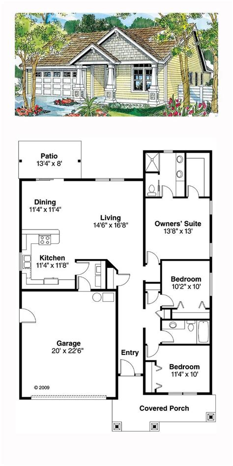 Ranch Style House Plan 59713 with 3 Bed 2 Bath 2 Car