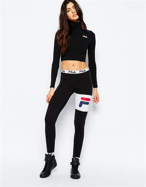 fila jumpsuit fila cropped roll neck sleeve top with small logo in