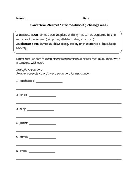 labeling concrete or abstract nouns worksheet