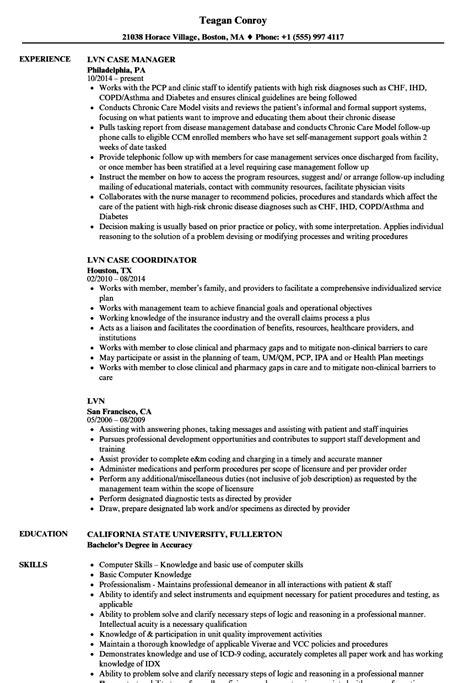 Lvn Resume Exles by Lvn Resume Sles