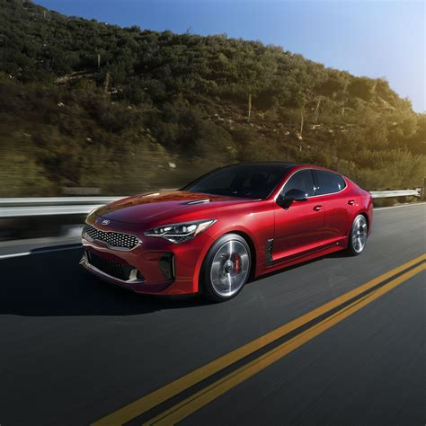 2018 Kia Stinger Gt Red Color Front Side View On Highway