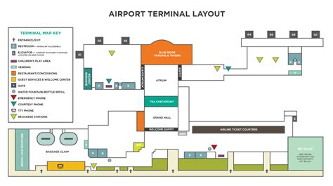 free floor plan layout in the terminal asheville regional airport