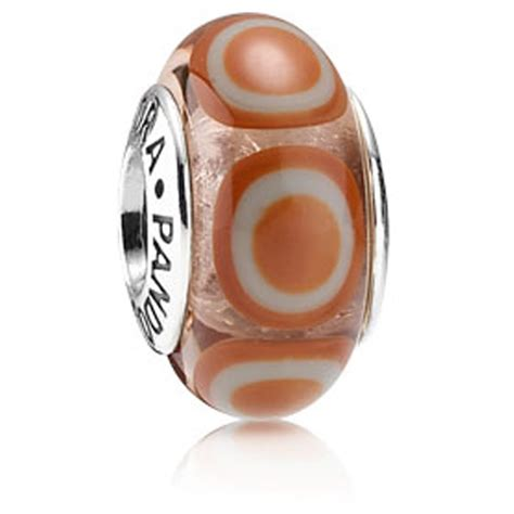 retired pandora orange murano stepping stones charm