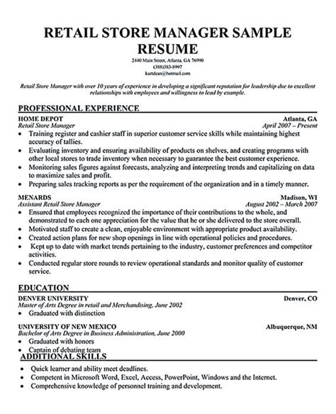 Retail Store Manager Resume Exle by The World S Catalog Of Ideas