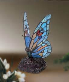 blue butterfly tiffany style glass table lamp ebay