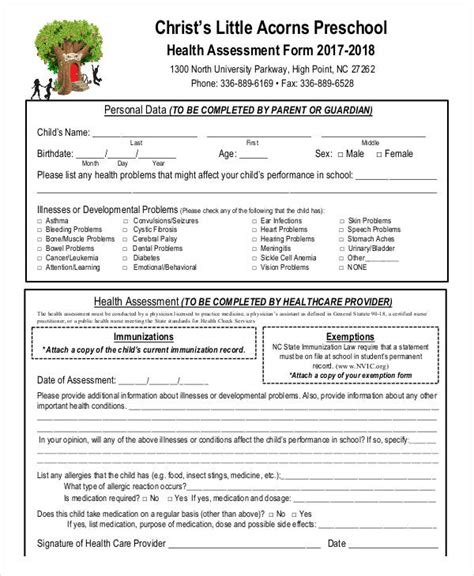4 year old well child exam form free health assessment form
