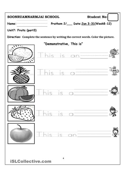fruits fruits kindergarten worksheets fruit kids writing