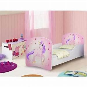 Lit fille licorne rose sommier matelas 140x70 cm for Robe de chambre enfant avec matelas et sommier en 140