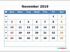 Printable Calendar 2019 November with Week Number 2018