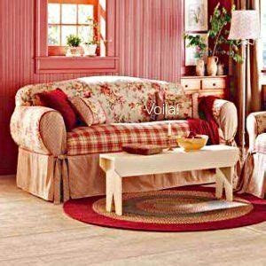 fit shabby french floral toile plaid sofa slipcover