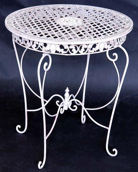 Gartentisch Metall Weiß by Eisen Tisch Rund Gartentisch Metall Terassentisch Weiss Ebay