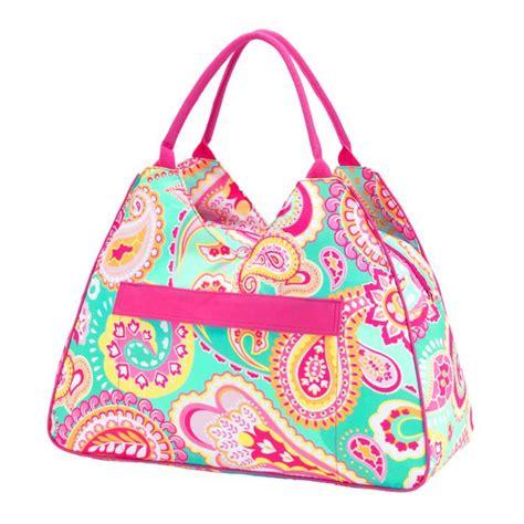 monogrammed summer paisley beach bag
