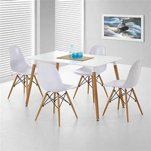 chaise bois blanc salle manger advice for your home With deco cuisine avec table chaise design