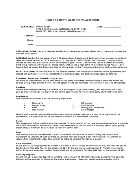 month to month lease template month to month room rental agreement landlord template free