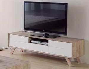 Meuble Tv Blanc Laqué Et Bois : meuble tv scandinave maison et mobilier d 39 int rieur ~ Teatrodelosmanantiales.com Idées de Décoration