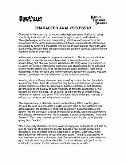 Essay Character Analysis Template Guideline Allbusinesstemplates Main