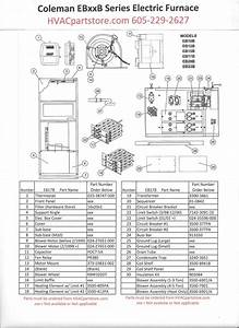 Eb17b Coleman Electric Furnace Parts  U2013 Hvacpartstore