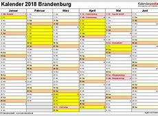 Kalender 2018 Brandenburg Ferien, Feiertage, ExcelVorlagen