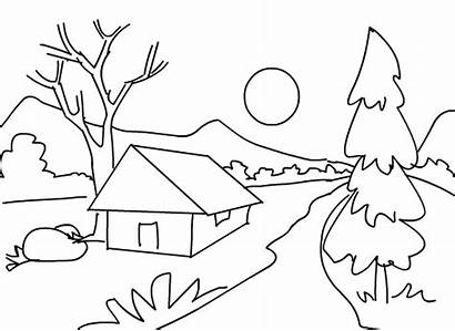 Scenery Coloring Pages Scenic Drawing Outline Colour
