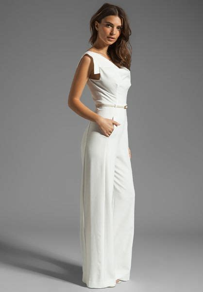 winter white jumpsuit black halo jackie jumpsuit in white winter white lyst