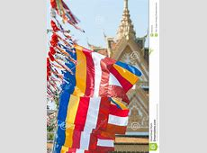 Buddhist flags in Cambodia stock image Image of symbol