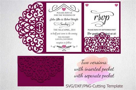 Tri Fold Wedding Invitation Pocket Envelope Svg Template